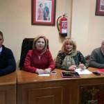 Los alcaldes de los municipios de Alanís, Hornachuelos, Fuente Obejuna y Las Navas de la Concepción en la reunión celebrada ayer en Hornachuelos. Foto: Cecilio Fuentes.