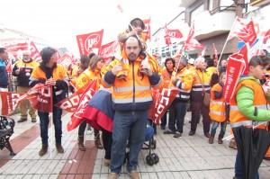 Gabriel Gandullo, trabajador de El Real de la Jara, en la concentración de Monesterio. Foto: La Plaza.