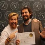 Carlos Ortiz, de Confitería Ortiz, premiados en la edición 2017, junto con el cocinero Daniel del Toro.